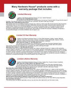 Hardware House, LLC. Warranties